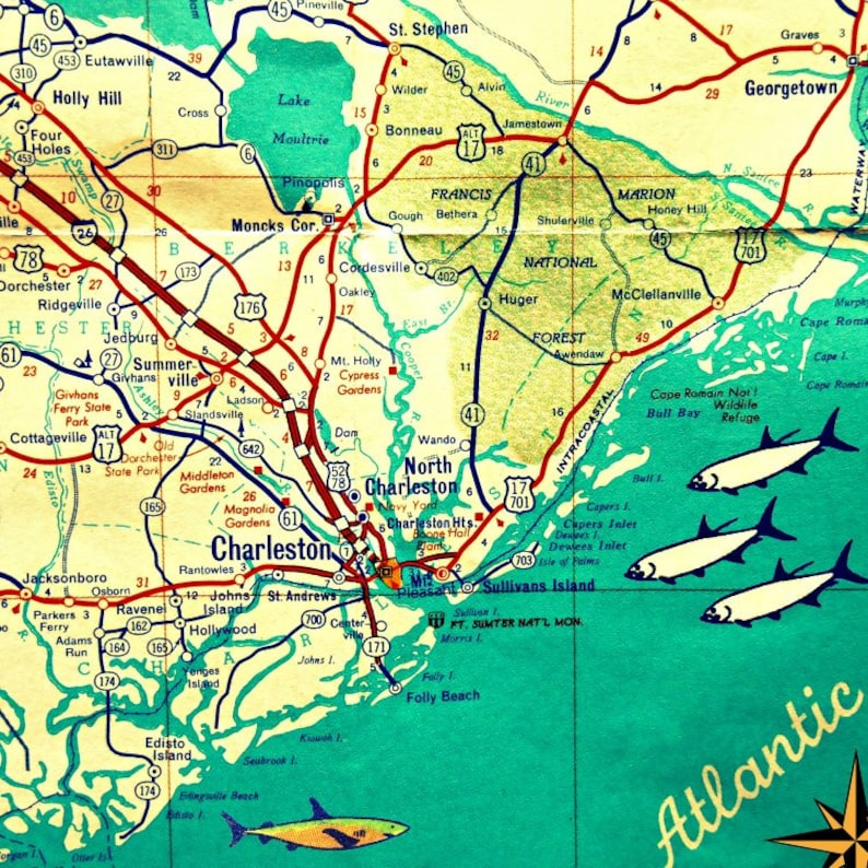Charleston Map Print South Carolina Coastal Map Sc Home Etsy