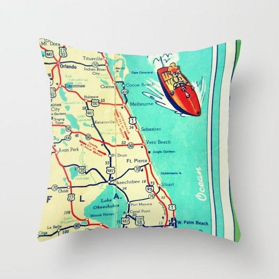 Vero Beach Florida Map.Vero Beach Pillow Covers 18x18cocoa Beach Florida Throw Etsy