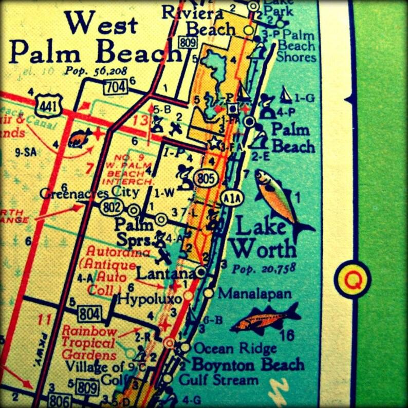Map Art Palm Beach Map Florida Vintage Map Art West Palm Etsy