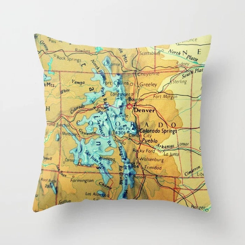 Colorado Map Pillow Covers Colorado Gifts Denver Map Co Etsy