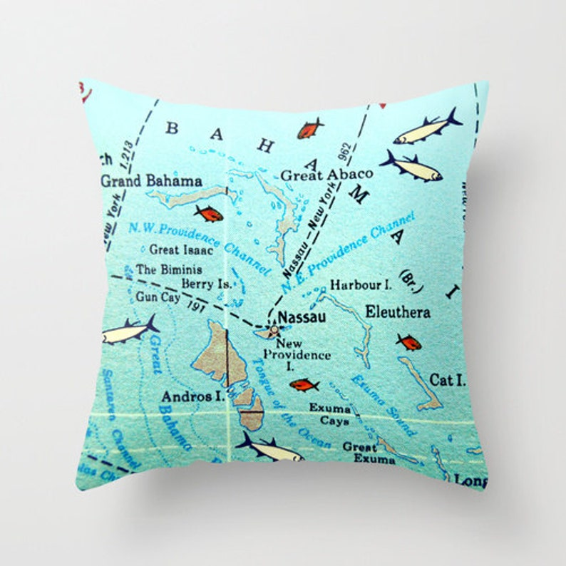 BAHAMAS Map Pillow Covers Destination Wedding Gifts Vintage | Etsy