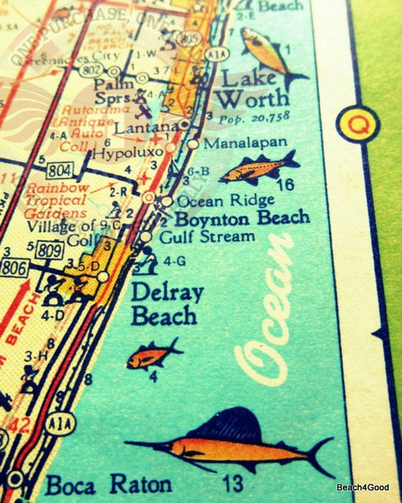 Map Of Florida Showing Delray Beach.Delray Beach Map Florida Map Art Etsy