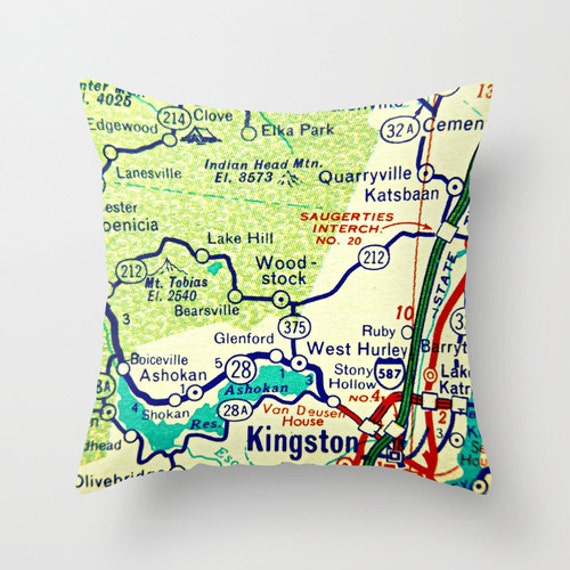 Lake Placid New York Map.Custom New York Pillow Cover New York Map Pillow Brooklyn Ny Etsy