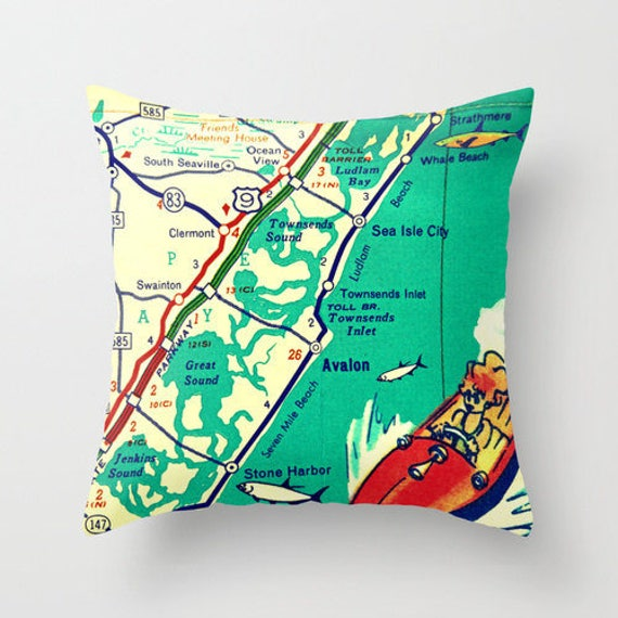 Asbury Park New Jersey Map.Jersey Shore Map Pillow New Jersey Asbury Park Avalon Long Etsy
