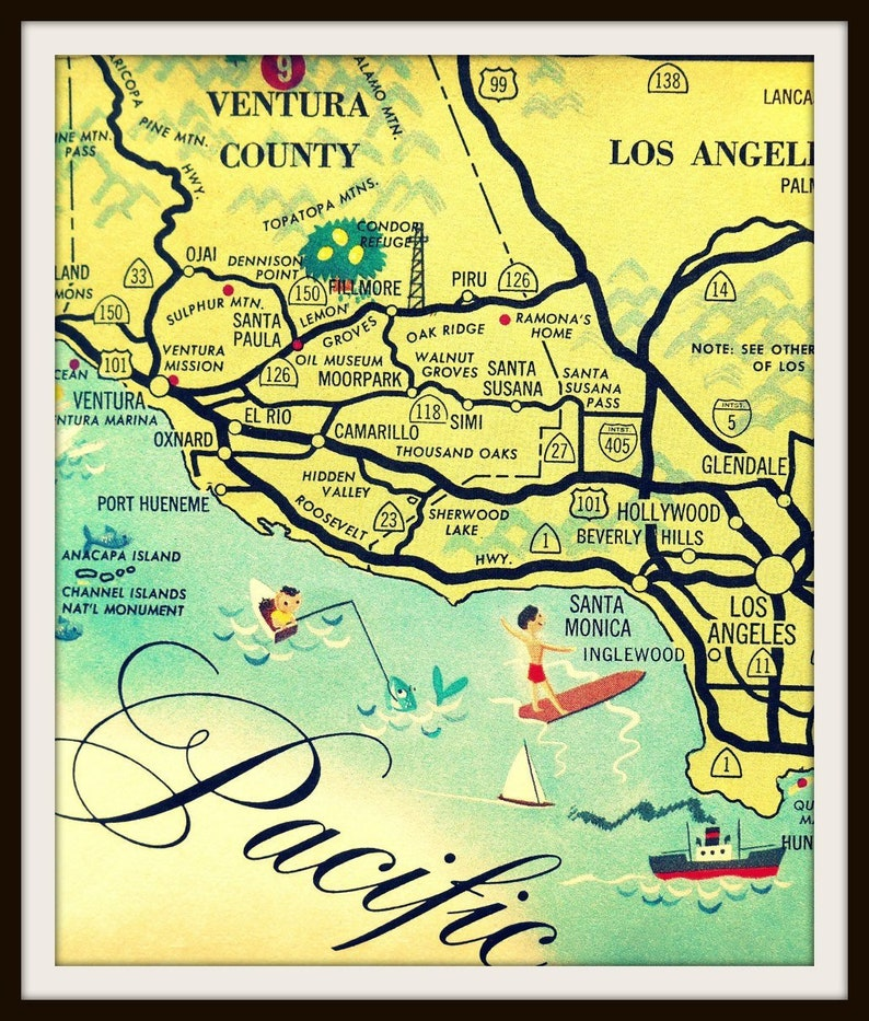 California Map Hollywood.Vintage California Art Los Angeles Map Santa Monica Map Etsy