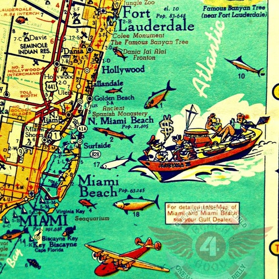 Fort Lauderdale Map Print Retro Miami Beach Photograph Etsy