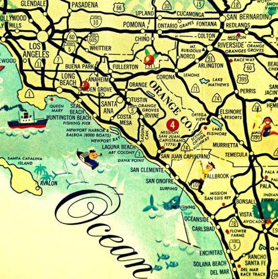Mid Century California Wall Art California Map Art retro map