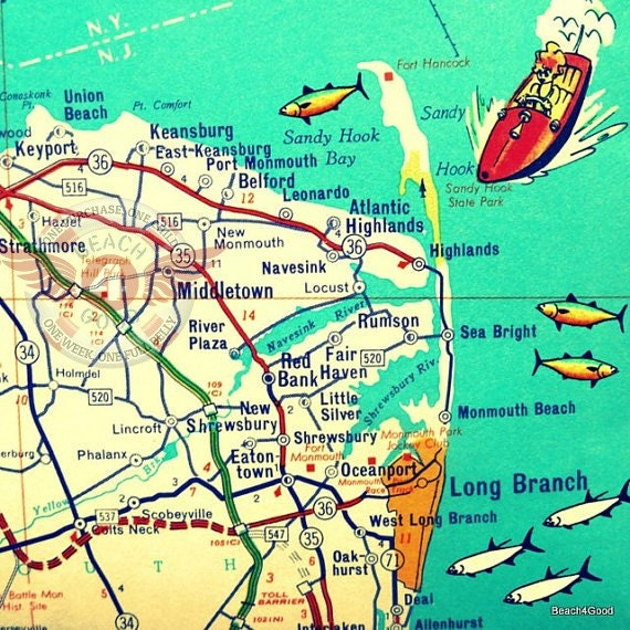 Jersey Shore Map Art New Home Gift Jersey Shore Decor