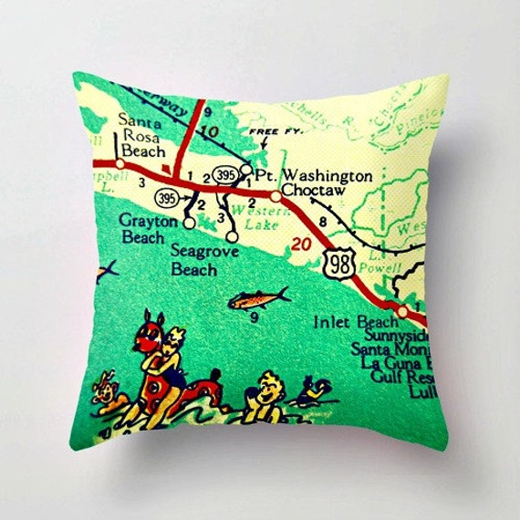 Custom Florida map pillow Covers 18x18 Vintage Style Florida | Etsy