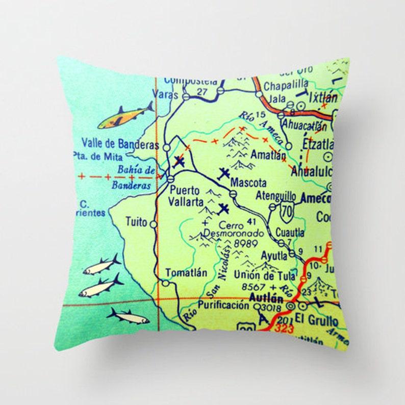 Map Pillow Puerto Vallarta Mexico Pillow Cabo San Lucas Etsy