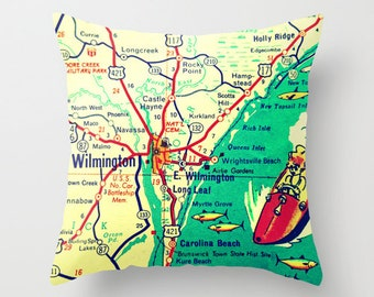 North Carolina Map Pillow Cover, Wilmington Gift, Father's Day Gift North Carolina Gift, WILMINGTON NC Map Pillow, Wrightsville Beach Gift