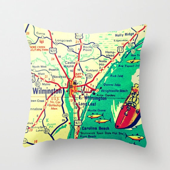 North Carolina Map Pillow Cover Wilmington Gift Travel Gift