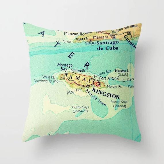 JAMAICA Map Pillow Covers 18x18 Vintage Jamaica Map Jamaica | Etsy