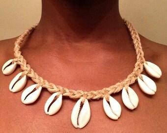 Hemp Cowrie Shell Necklace