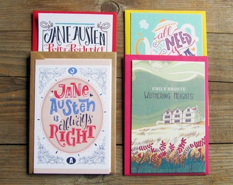 Pick your fave literary cards with envelopes. Book lovers gifts.