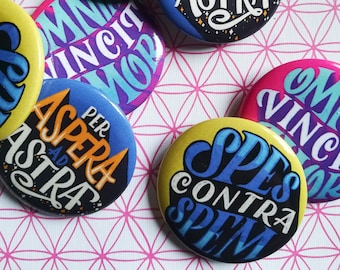 Latin pins, set of 3 of our latinorum buttons