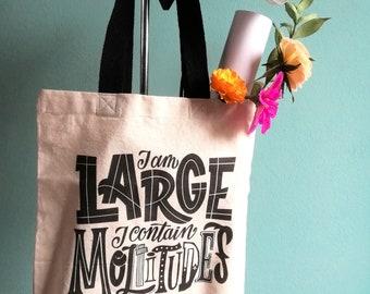Walt Whitman tote bag, I am large I contain moltitudes quote