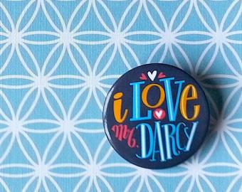 I love Mr Darcy pin for Jane Austen fans. Hand type button.