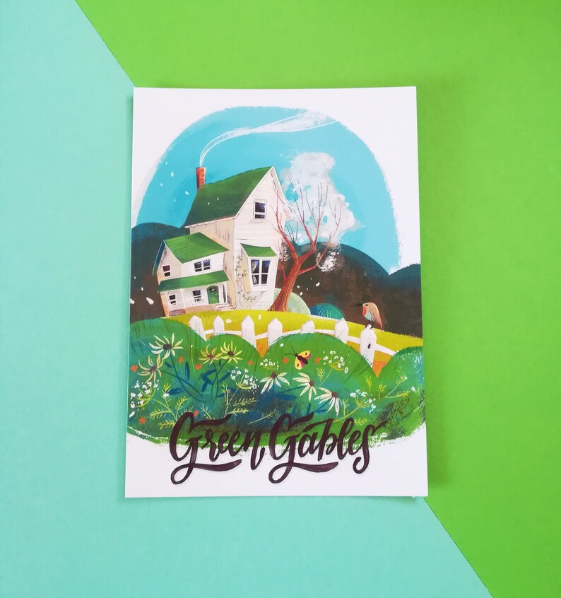 5 Green Gables illustrated cards dedicated to the novel by Lucy Maud Montgomery