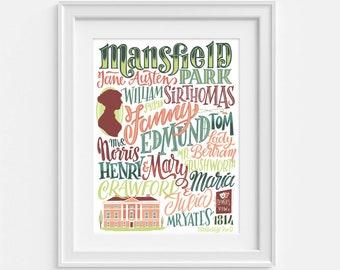 Mansfield Park print, inspired by the Jane Austen novel (12,60 x 18,10)