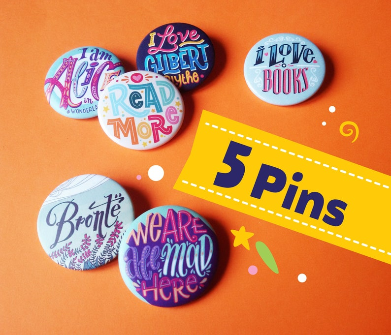 Set of five literary buttons chose your favourite. Gift for image 0
