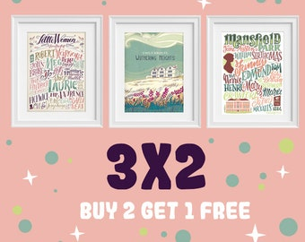 3 literary posters at the price of 2, 3x2, buy two get one for free