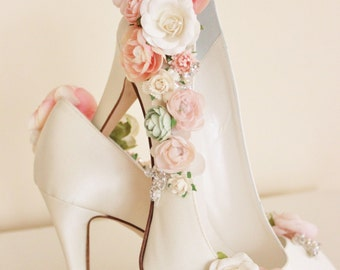 6da8fbdf33c Whimsical Woodland Blush Flower Bridal Shoes