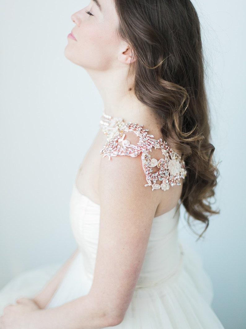 58c748ca62 Bridal Cover Up Bridal Bolero Rose Gold Statement Necklace   Etsy