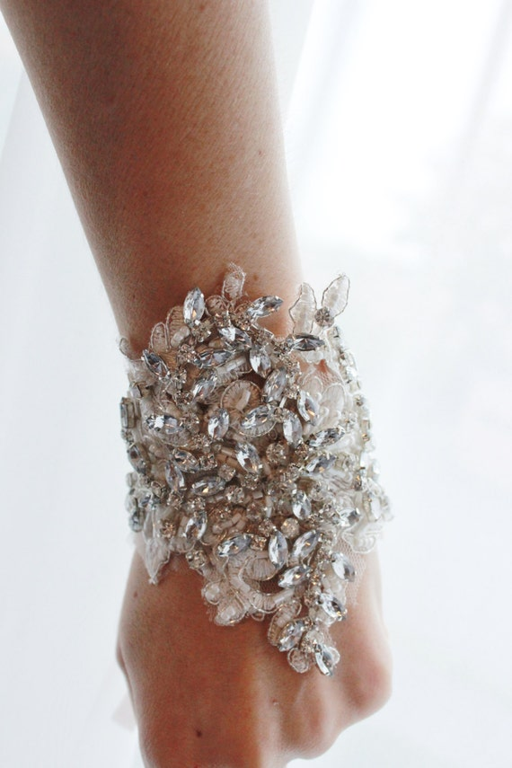 bridal rhinestone cuff bracelet crystal beaded wedding cuff etsy