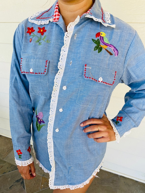 70s Denim Custom Embroidered Shirt