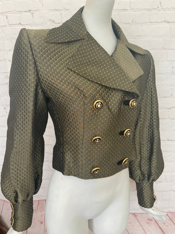 Fancy Crop Jacket - Olive and Gold