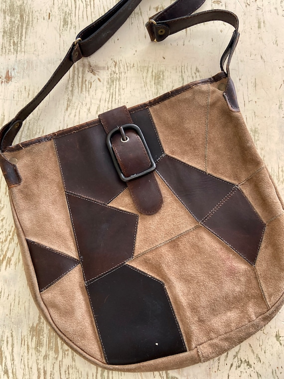 70s Leather & Suede Boho Shoulder Purse