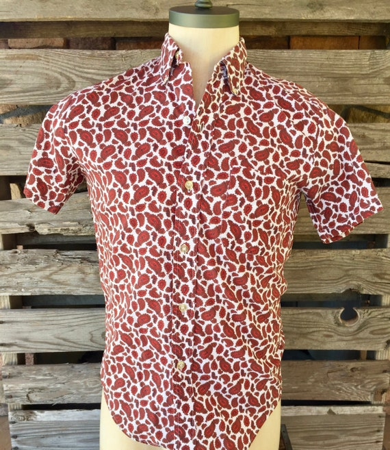Pilgrim 1950s Paisley Mens Short Sleeve Shirt
