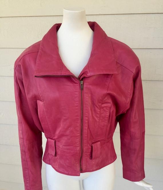 North Beach - Hot Pink Leather Crop Jacket