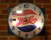 Hard to find 1940s Rare Authentic Working Pepsi-Cola Bubble Clock Mounted on Board made by Telechron for Pepsi PC-1 G-44