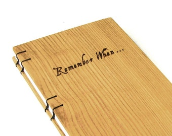 Oak Book, Remember When...Pyrography Quote Book, Real Wood Book
