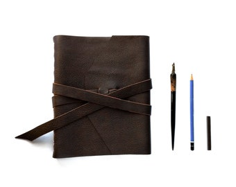 """Extra Large Leather Sketchbook, Leather Journal with double wrap tie 8"""" x10"""""""
