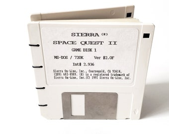 Recycled Computer Game Floppy Disk Notebook, gift for geek, nerd, office gift, 90's gift