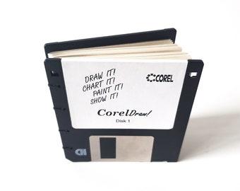 Recycled Computer Program Floppy Disk Notebook, gift for geek, nerd, office gift, 90's gift