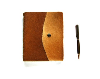 Hair on leather journal, blank leather journal with snap, Genuine Hair Leather