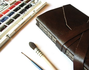 Leather Watercolor Journal with Double Wrap Tie