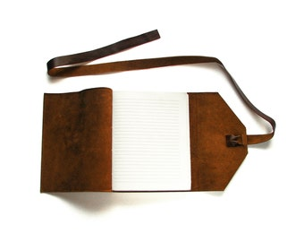 Lined Leather Journal, Leather Notebook, Rustic Journal with Double Wrap Tie