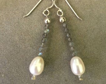 Earrings: Labradorite and White Pearls