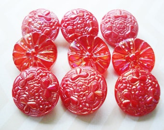 Red and white Glass Buttons made in Czechlosovakia Soviet Vintage