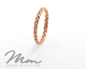 Rose Gold Wedding Ring Rose gold promise ring Rose Gold Braided Ring Rose Gold Twist Ring, Thin Rose Gold Ring 14K