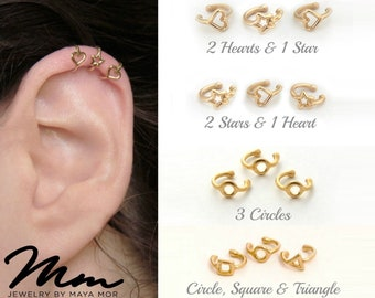 Ear Cuffs No Piercing Ear Cuff Non pierced Simple Ear cuff no piercing Ear wraps No Piercing cartilage cuff fake ear cuff earring