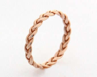 Rose Gold Ring Band, Unique Gold Wedding Band, Womens Wedding Band, 14k Rose Gold Wedding Ring, Thin Gold Promise Ring, Braided Wedding Ring