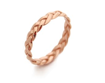 Solid 18k Gold Thin Stacking Twist Ring Bright Luster Fine Jewelry Jewelry & Watches