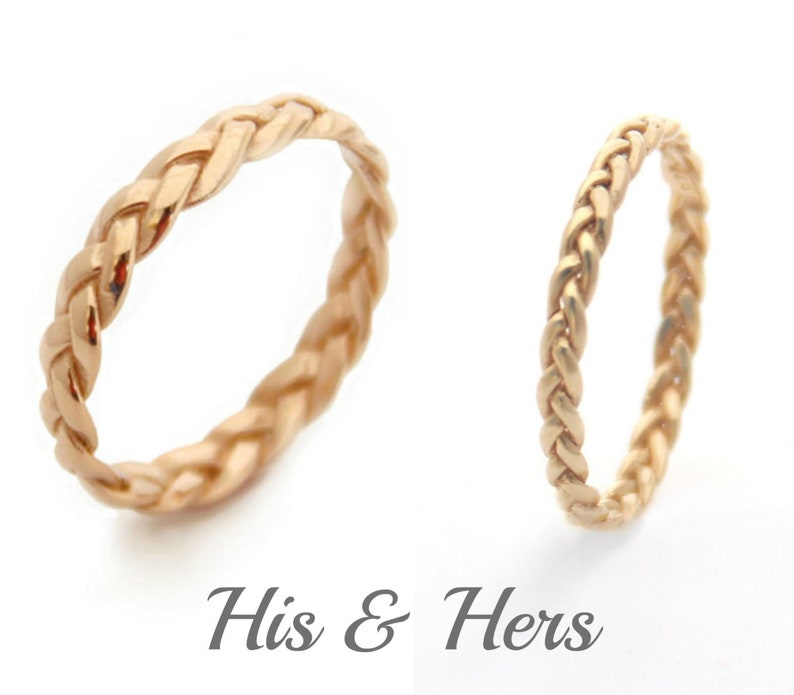 f51bbed7ad435 His and Her Promise Rings for Couples Him and Her Wedding Ring Sets His and  Hers Yellow Gold Braided Ring Wedding Set Wedding Band Set Gold
