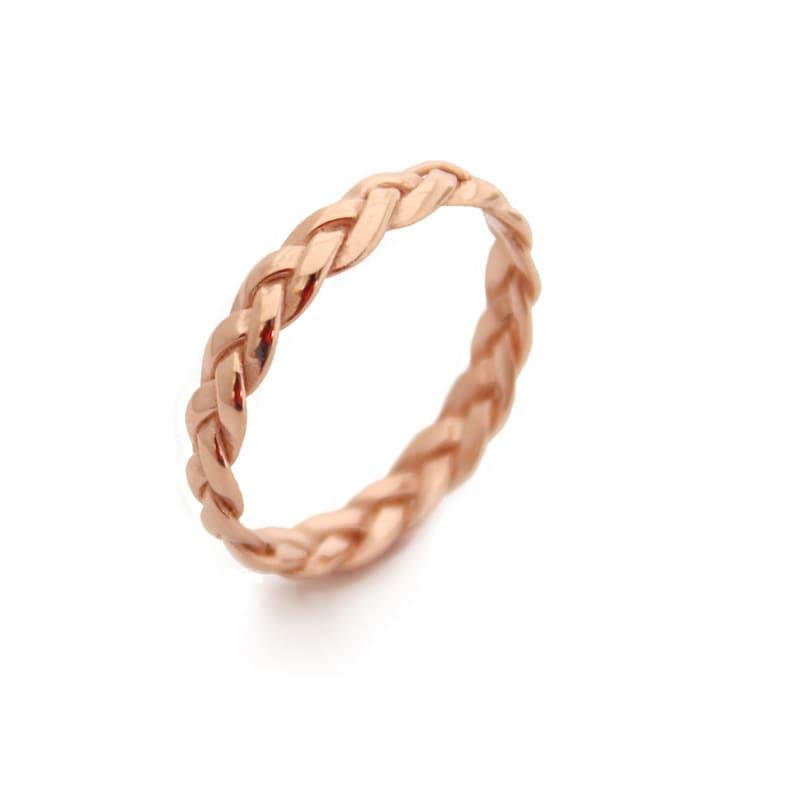rose women ring braided gold ring Rose Gold Wedding Bands women rose gold wedding ring 14k rose gold ring
